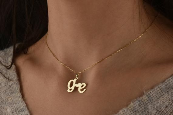 2 Letter Necklace For Couple Letter Necklace Gold Script Etsy Initial Necklace Gold Initial Necklace Gold Letter Necklace