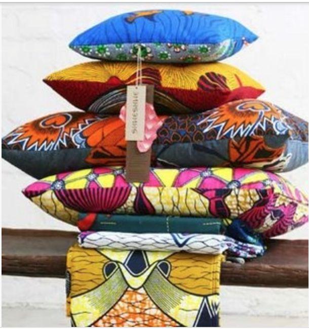Color saturatedShweshwe pillows. {Via Pinterest}
