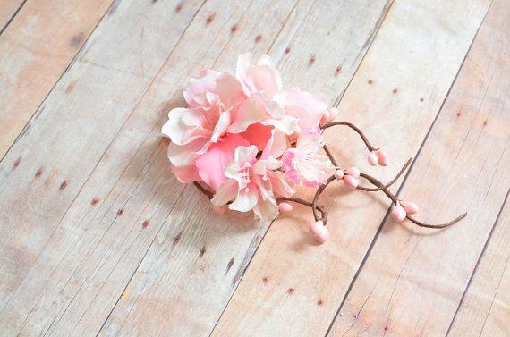Pink floral clip, bridal hair clip, wedding head piece, pastel pink flower clip, hair accessory