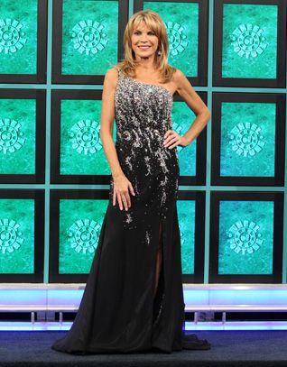 LA FEMME: Black charmeuse one-shoulder gown enhanced in aurora rhinestones & silver beads, keyhole cutout back, skirt slit right-front, flared hemline w/train | Vanna White's dresses | Wheel of Fortune