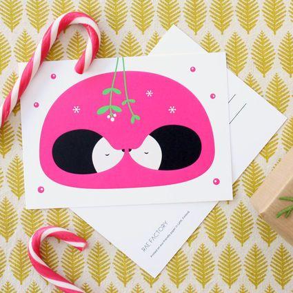 "One of my favorites from Rae Factory <3 ""under mistletoe"" postcard. https://www.weecos.com/fi/item/mistelinoksan-alla-postikortti #RaeFactory #Finnishdesign #Weecos #sustainable"