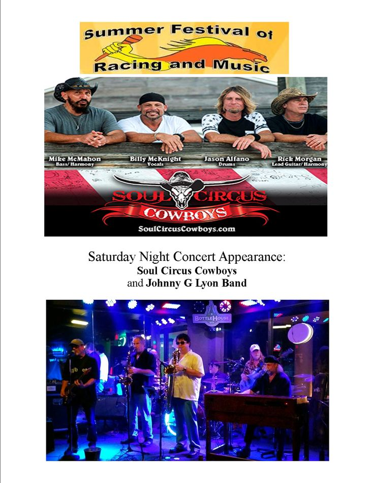 Make plans now to stick around after Saturday's Thoroughbred card and the Corgi races to enjoy the concert, featuring the Soul Circus Cowboys and the Johnny G Lyon Band. The first horse race is a Quarter Horse event at 11:30 a.m. The Summer Festival of Racing and Music kicks off Friday, with the first race at 12:25 p.m.! #thingstodotampa #horseracing #racetrack