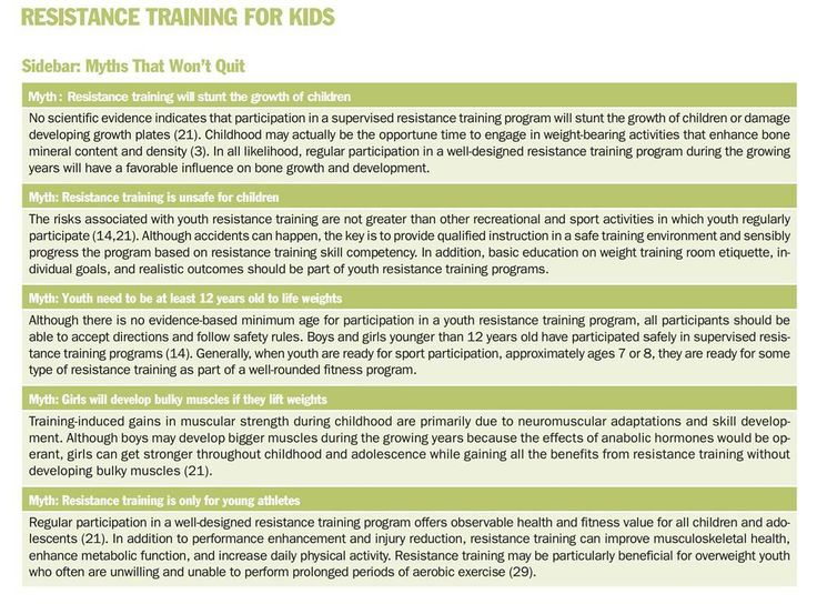 Myths surrounding resistance training for youths....dispelled by Faigenbaum & McFarland 2016