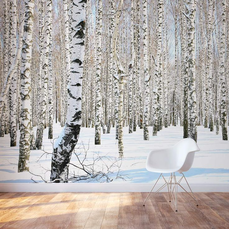 25 best ideas about birch tree mural on pinterest tree for Winter wall murals