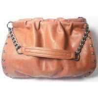 Handtasche braun mit Nietenknöpfe