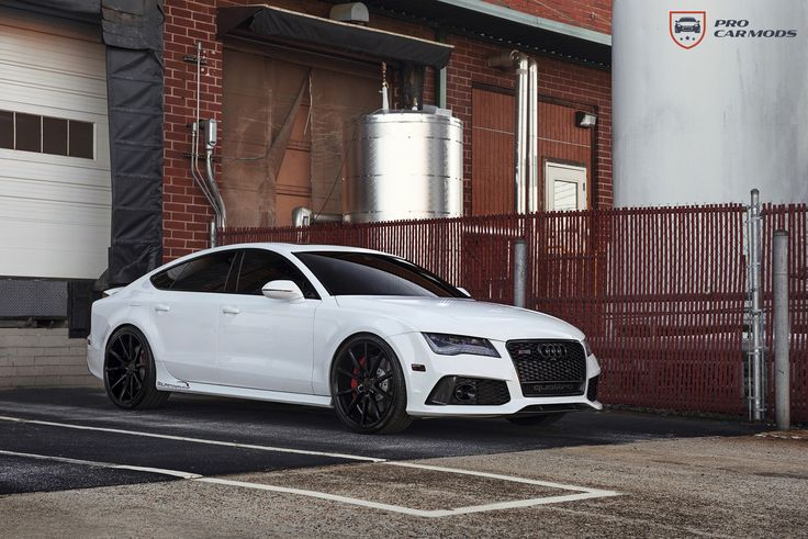 """Menacing modified Audi RS7 2014 Audi RS7  Wheels: Vossen VFS-1 Custom Gloss Black (F) 22"""" x 10.5"""" (R) 22"""" x 12""""  Tires: Pirelli P Zero Nero (F) 255/30/22 (R) 295/25/22 Exhaust  Custom Downpipes by Solo Motorsports Custom exhaust by Solo Motorsports  ECU Tuning: Solo Motorsports Stage 2 OEM Air Suspension adjustment  For information on where to buy products, go to: http://procarmods.com/2016/05/08/menacing-modified-audi-rs7/"""