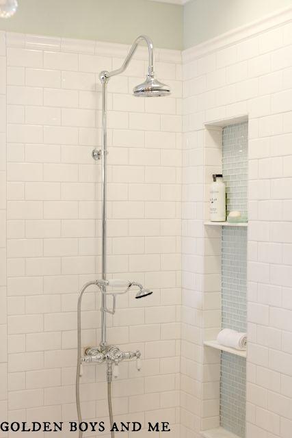 diy master bath white subway tile, glass tile shower niche, exposed shower - all sources listed www.goldenboysandme.com