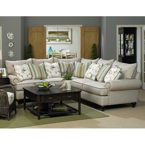 Paula Deen Home 2 Piece Sectional Sofa With Rolled Arms And Turned Feet By Living Room SectionalLiving
