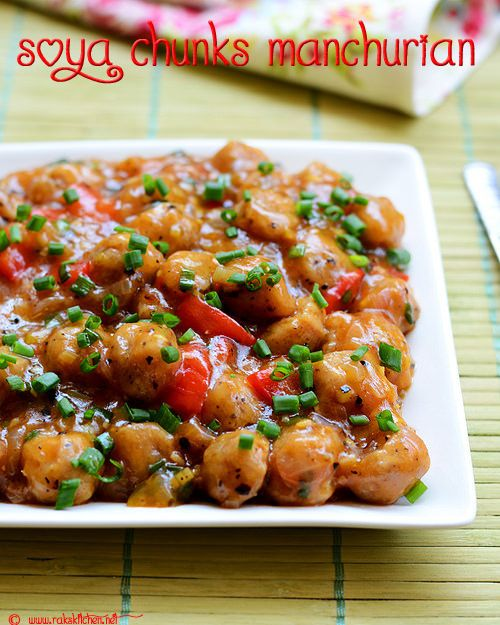 Soya chunks manchurian a semi dry recipe with step by step pictures!