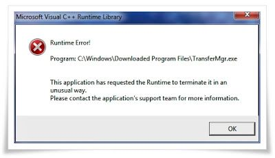 """How to fix """"Microsoft Visual C + + Runtime Library"""" (Runtime Error! Program: C:\Windows\Downloaded Program Files\TransferMgr.exe)"""