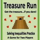 """Roll the die, pull a card, solve the inequality, do you risk your treasure!  In this game students send one """"runner"""" at a time down the path to the temple.  Along the way they solve simple inequalities and """"bet"""" on the roll of the die."""