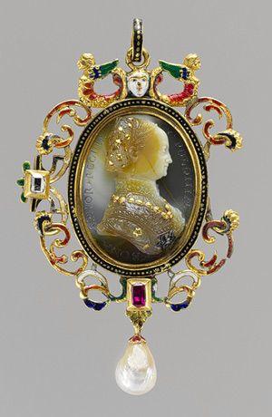 Cameo   Bona Sforza, Queen of Poland  c. 1530-40  Caraglio   Sardonyx with inlaid gold and silver details  The Metropolitan Museum of Art