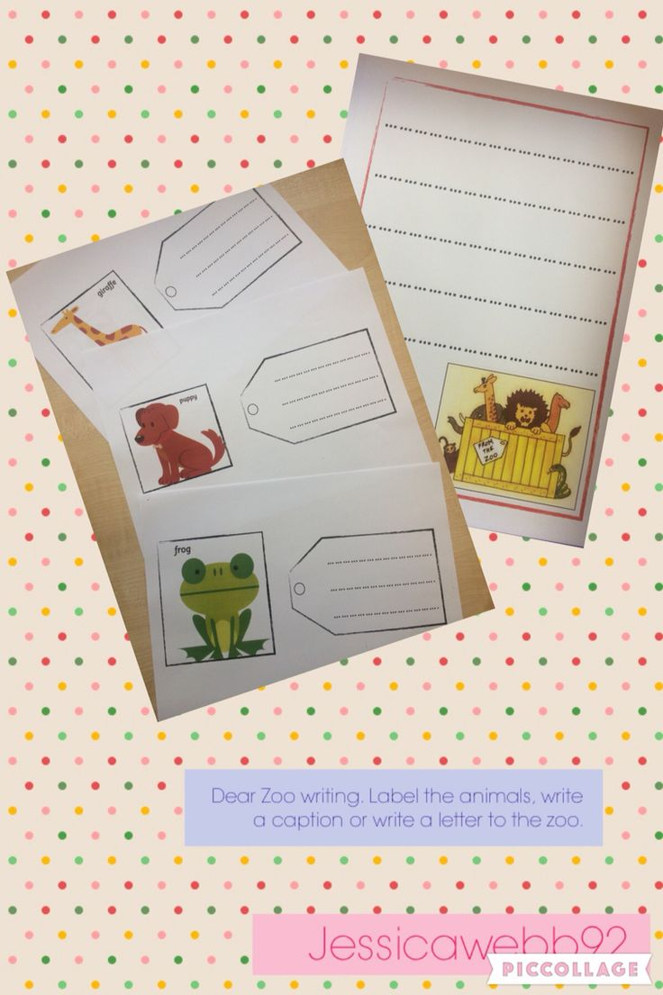 Dear zoo writing. Write a latter to the zoo, label an animal, write a caption for an animal. EYFS
