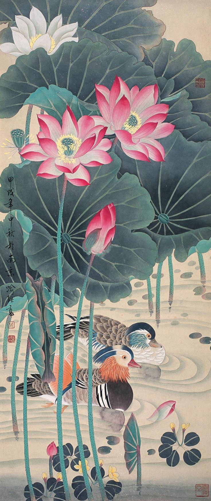 A loving couple of mandarin ducks swim side by side in a lotus pond, traditional Chinese Meticulous-style ink painting by contemporary Chinese artist Yu Jigao (喻继高)