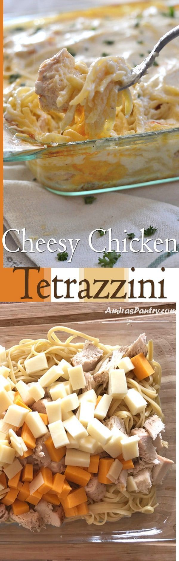 Made-from-scratch creamy, cheesy Chicken Tetrazzini. One of the easy baked chicken pasta recipes that I've ever made. This is how to make chicken tetrazzini, very tasty, creamy and loaded with cheese. #pasta #pastarecipes #dinner | amiraspantry.com