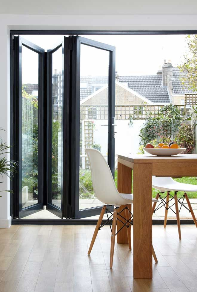 Black Accordion Doors : Bifold exterior doors double glazed
