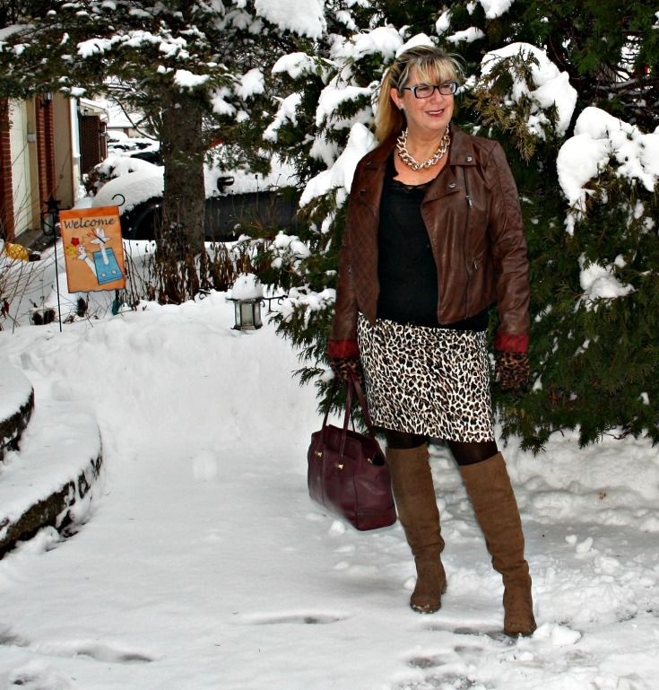 OTK Shoe dazzle boots,leopard skirt and gold link necklace and a jord watch