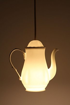 -$200 at anthropologie for a teapot pendant light? I think not... looks like an easy to do project w/ flea market find & light kit.