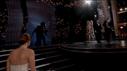 Jennifer Lawrence just won best actress, and she also fell walking up onto stage. Oops, here's a GIF