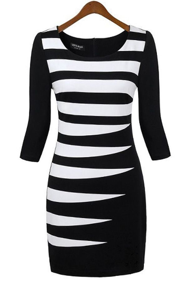 Quarter Sleeves Striped Knit Dress