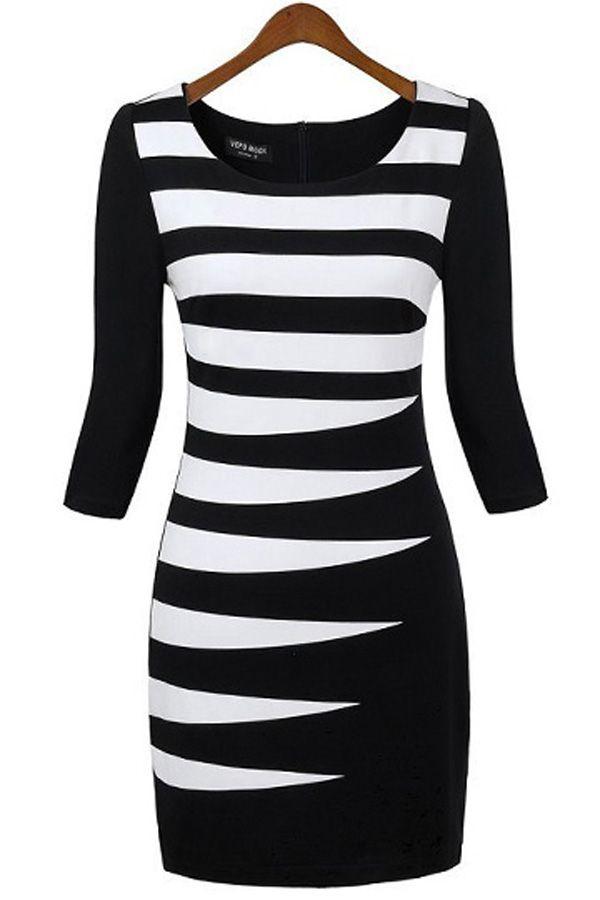 Quarter Sleeves Striped Knit Dress