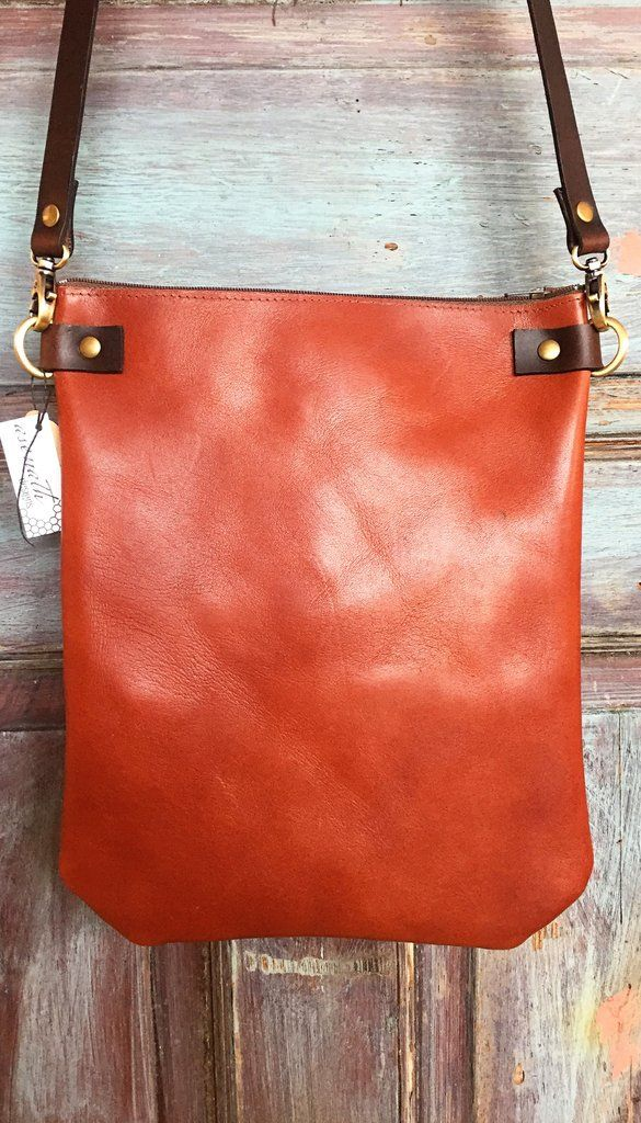 Cognac Crossbody Leather Bag - Small