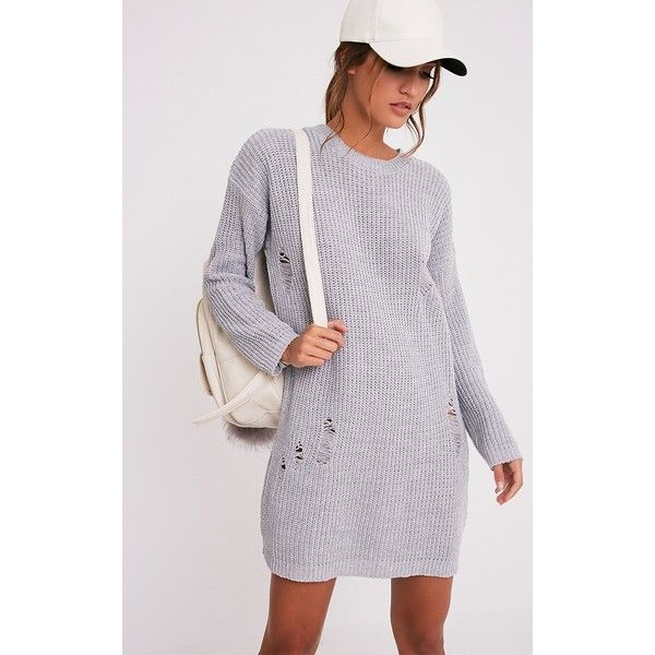 Nico Distressed Grey Oversized Knitted  Dress (£30) ❤ liked on Polyvore featuring dresses, grey, oversized dress, oversized knit dress, grey knit dress, ripped dress and knit dress