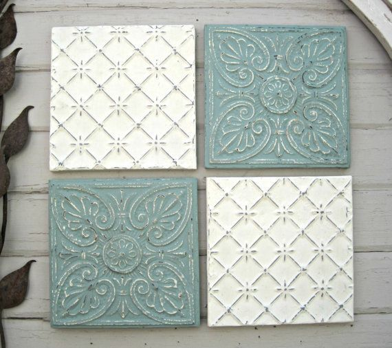 Tin Ceiling Tile Set 12 X 12 Framed Tiles By Driveinservice Tin Ceiling Tiles Tin Ceiling Antique Ceiling Tile