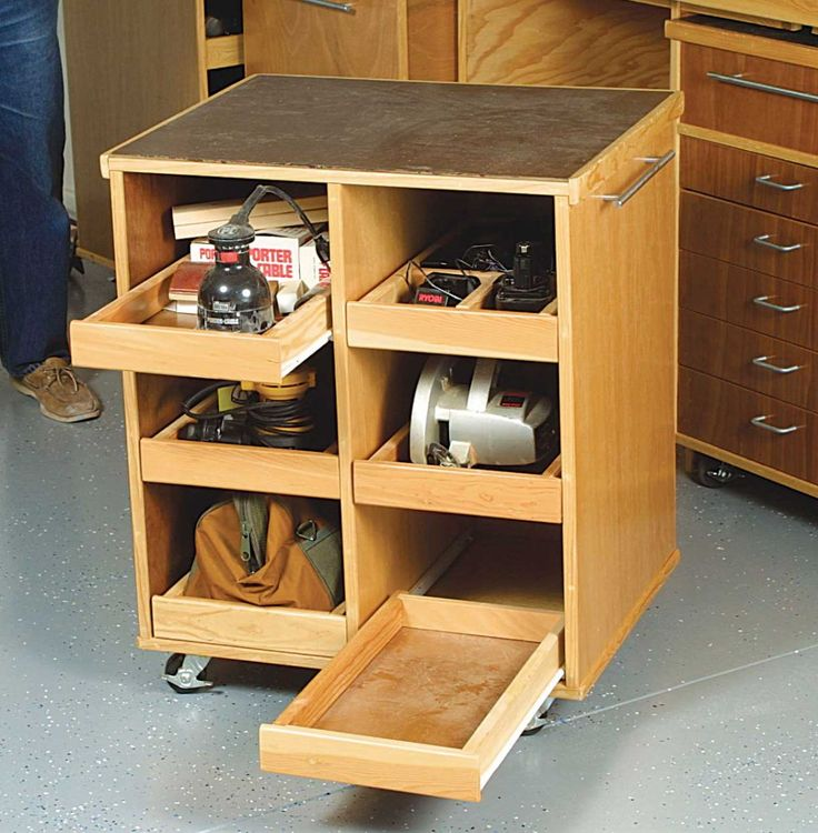 Could probably modify an old wooden dresser to this- Cut the drawers down; add those kitchen counter roll out assembly-wala! A work station except I would use the wheels lift up/ stop idea found in another pin on my page.