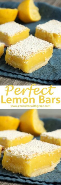 Smooth, tangy lemon filling baked on a shortbread crust and dusted with powdered sugar.
