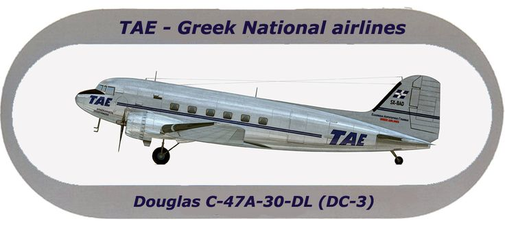 TAE-Greek National airlines Sticker Douglas C-47A-30-DL (DC-3)
