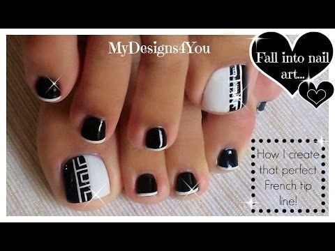 Toenail Art Design | Black and White Pedicure ♥ Diseño de Uñas de Pies - YouTube