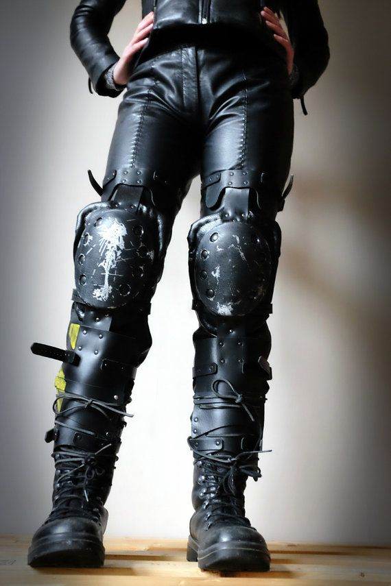 Apocalypse Leg Guards - Black/yellow/silver - mad max, buring man, dystopian, wasteland - Please read description for SIZES