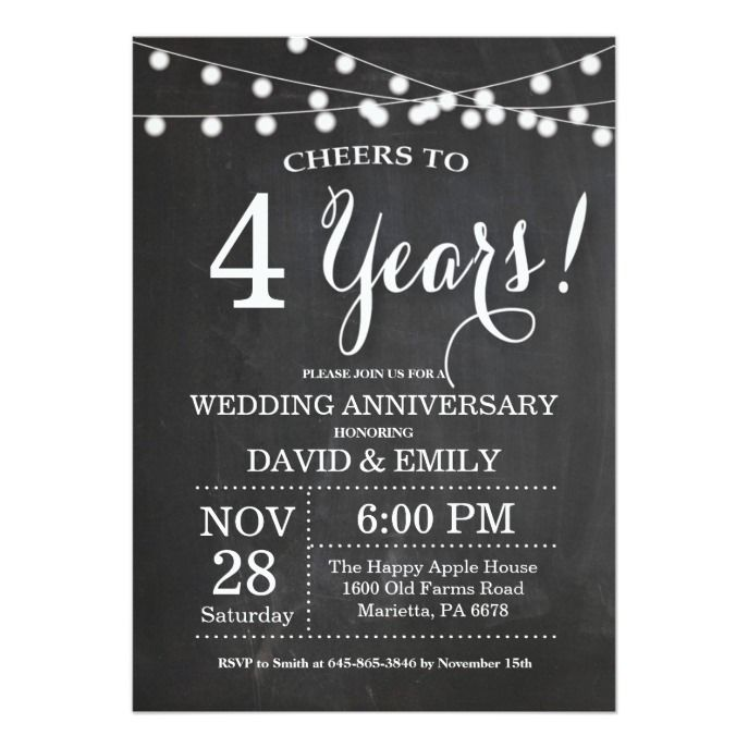 4th Wedding Anniversary Invitation Chalkboard Zazzle Com Anniversary Invitations 90th Birthday Invitations Wedding Anniversary Invitations