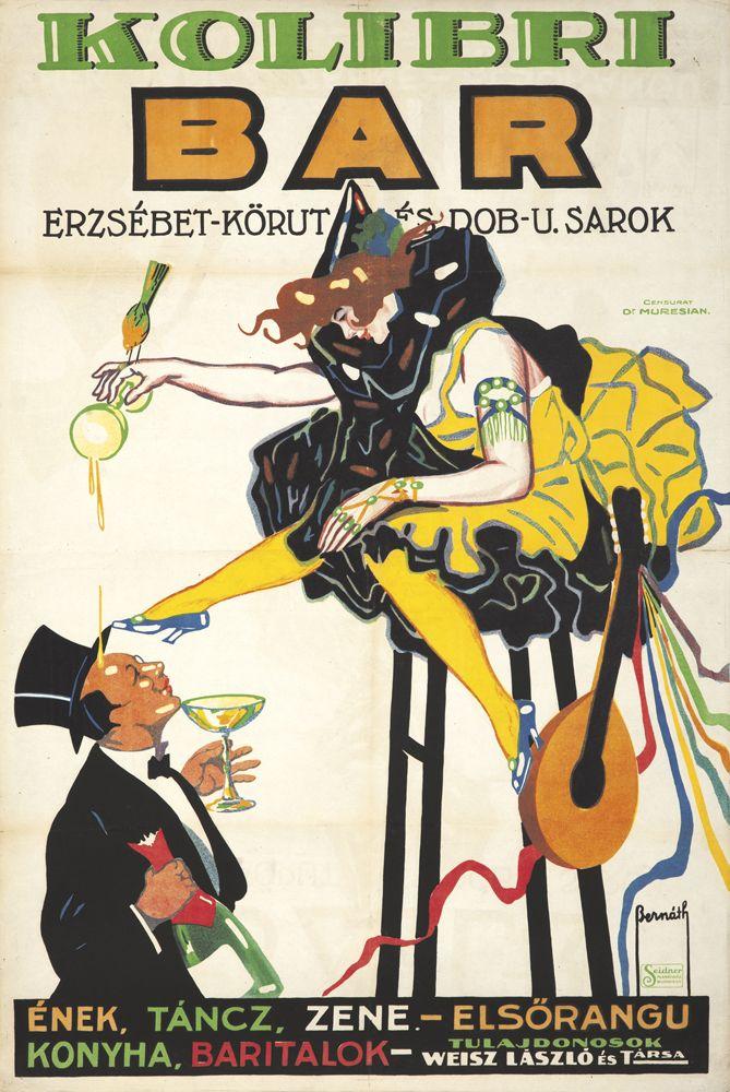 c. 1921 Art Deco German expressionist style poster ad. for (Hungarian food/drink entertainment estbl.) 'Kolibri Bar'...by;artist Aurel` Bernath...
