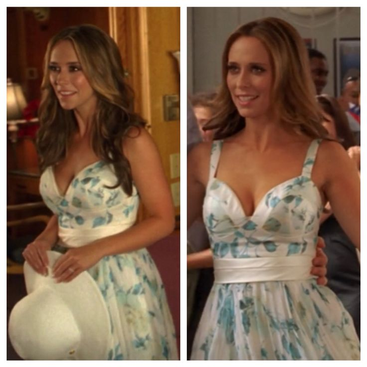 "Melinda Gordon's (Jennifer Love Hewitt) blue and white floral dress on Ghost Whisperer Season 4 Episode 4 ""Save Our Souls"""
