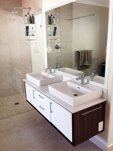 Caesarstone White Shimmer vanity in 20mm thickness, for a more classic look. Installed by Rock  Stone.