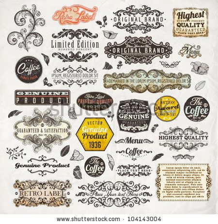 vector set: calligraphic design elements and page decoration, Premium Quality and Satisfaction Guarantee Label collection with vintage engraving flowers, leafs and berries for retro summer design.