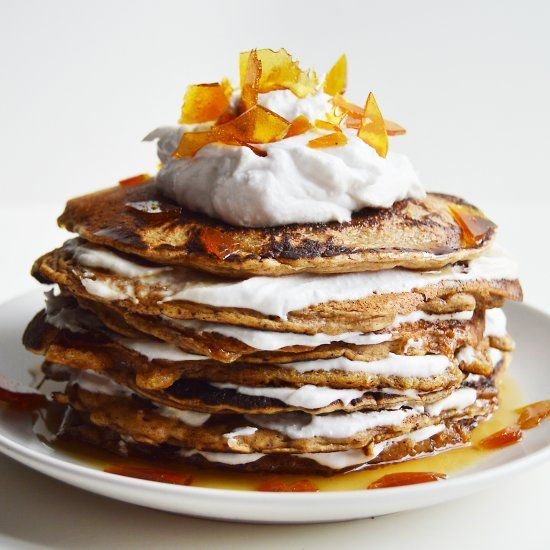 Vegan Gingerbread Pancakes with Coconut Whip and Salted Caramel Shards