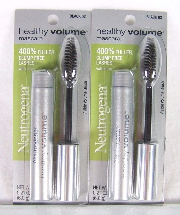 #Neutrogena lot/set of two (2) Healthy #Volume #volumizing #mascara #eye #makeup in 0.21 oz./6 g size and #black color 02 with #plumping #brush #olive and clump-free dermatologist/ophthalmologist tested formula safe for contacts, brand new and unused in original manufacturer's factory sealed retail protective card and clear plastic packaging…