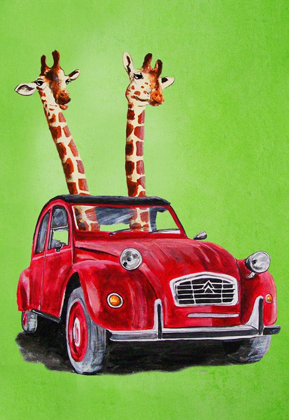 Animal painting portrait painting  Giclee Print Acrylic Painting Illustration Print wall art wall decor Wall Hanging: Giraffes in a red car on Etsy, $10.00