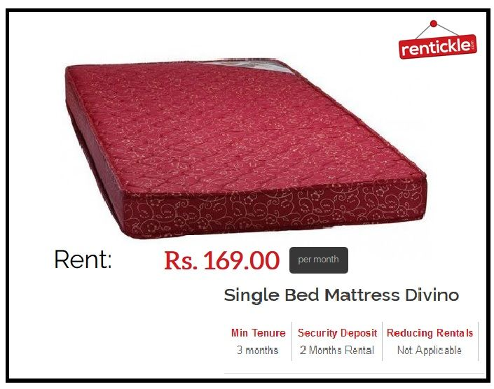 Single Bed Mattress on Bed, Rentickle is offering the mattress on Rent in Gurgaon, Noida, Faridabad, Delhi NCR and Hyderabad at very affordable prices. Here you can find out the wide range of mattress.