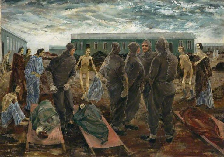 Sick Women and the Hooded Men of Belsen by Leslie Cole IWM (Imperial War Museums)      Date painted: 1945     Oil on canvas, 61.5 x 86.3 cm     Collection: IWM (Imperial War Museums)