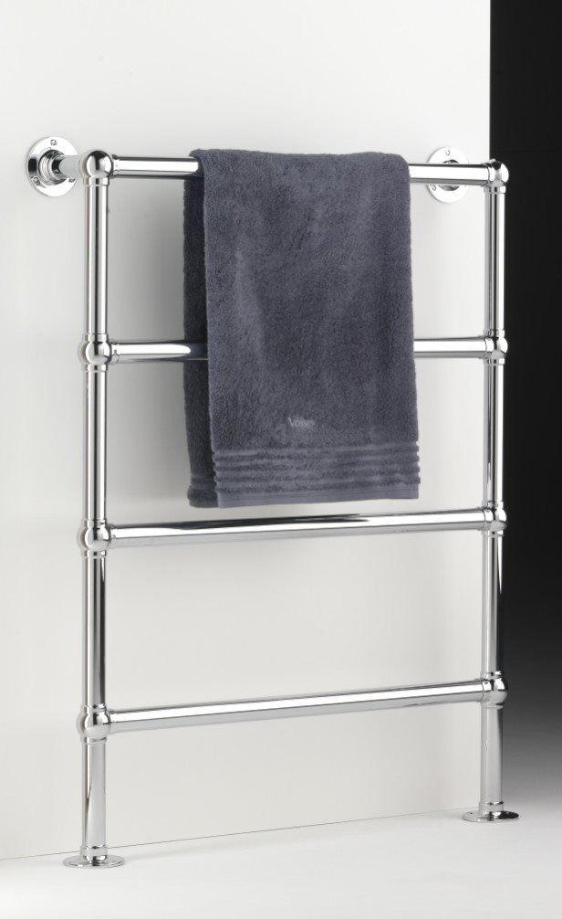 Heated towel rail in polished chrome. Floor mounted, made in several sizes and can also be made bespoke. Various finishes available. Joints can be ball or straight. Best quality item made in England. Electric towel rail, low energy for all markets. http://www.priorsrec.co.uk/heated-towel-rail-enville-floor-mounted/p-41-1104-520