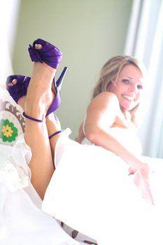 Wedding, Purple, Dress, Shoes - Photo by Sundance Photography