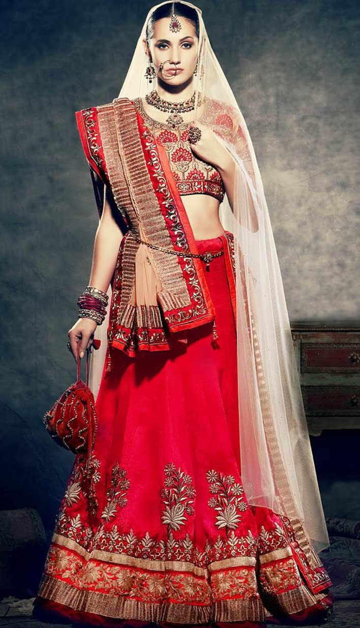 Fashionable Wedding Red Georgette Bridal Wear Lehenga Choli>  For more information, visit Efello.com .