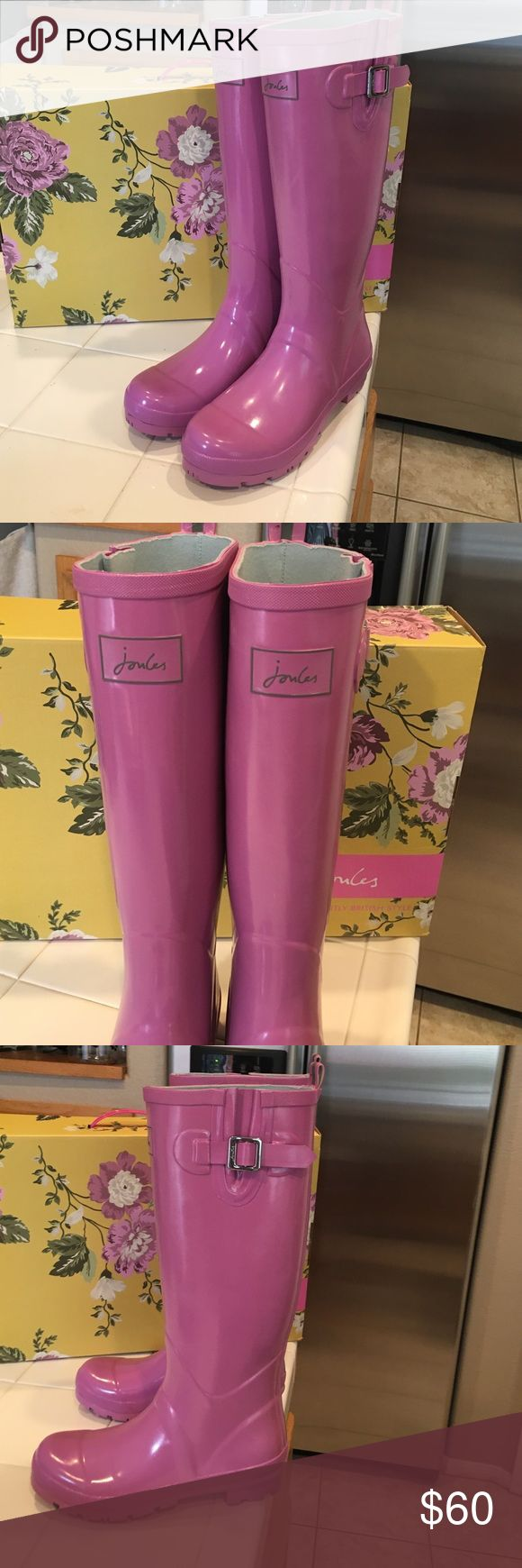 Joules Rain Boots Fashionable wellies. Pretty pink buckle boots. Tall style. NWT. Comes with half a box. I don't have the lid, as Nordstrom didn't have it when I purchased them. Joules Shoes Winter & Rain Boots