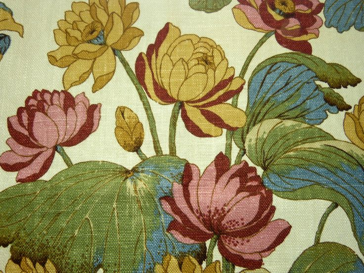 Lotus flower cotton & linen fabric rectangular table runner - exotic Asian tablecloth - French 80s vintage