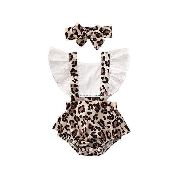 US Infant Baby Girl Romper Jumpsuit Bodysuit Headband Leopard Clothes Outfit Set