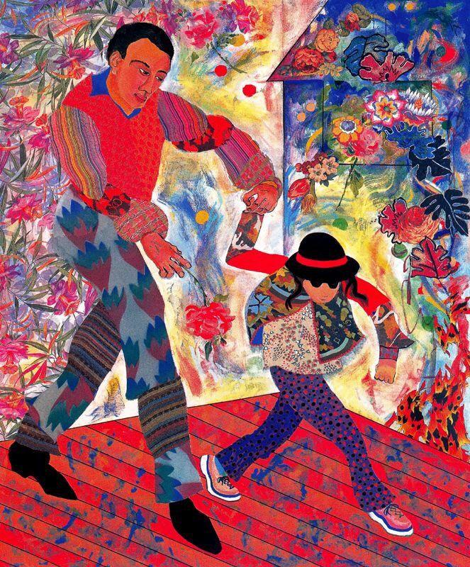 Father and Daughter By Miriam Schapiro 1997 Style: P&D (Pattern and Decoration) Genre: Genre Painting CopyRight: Fair Use پدر و دختر از ميريام شاپيرو ١٣٧٦ سبك: نقش و نشان ژانر: روزمرگي زندگاني حق تكثير: استفاده منصفانه